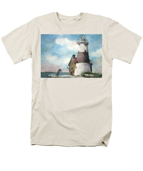 Men's T-Shirt  (Regular Fit) featuring the painting Execution Rocks Lighthouse by Susan Herbst