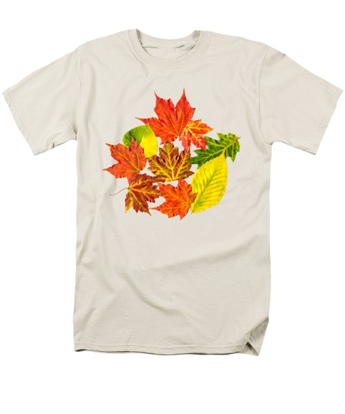 Men's T-Shirt  (Regular Fit) featuring the mixed media Fall Leaves Pattern by Christina Rollo