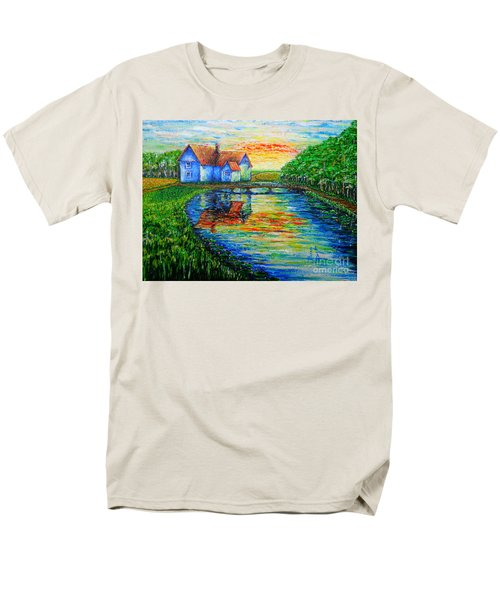 Men's T-Shirt  (Regular Fit) featuring the painting Farm House by Viktor Lazarev