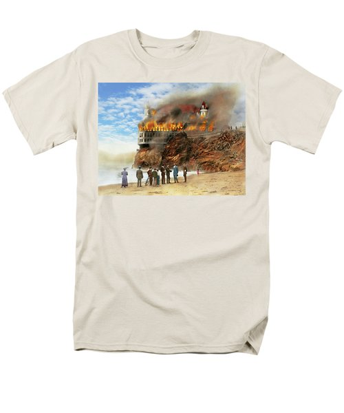 Men's T-Shirt  (Regular Fit) featuring the photograph Fire - Cliffside Fire 1907 by Mike Savad