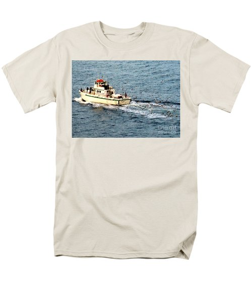 Men's T-Shirt  (Regular Fit) featuring the photograph Fishing And Seagulls by Randall Weidner