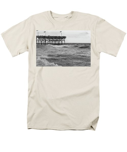 Men's T-Shirt  (Regular Fit) featuring the photograph Fishing Off The Pier At Myrtle Beach by Chris Flees