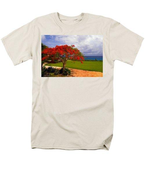 Flamboyant Tree In Grand Cayman Men's T-Shirt  (Regular Fit) by Marie Hicks