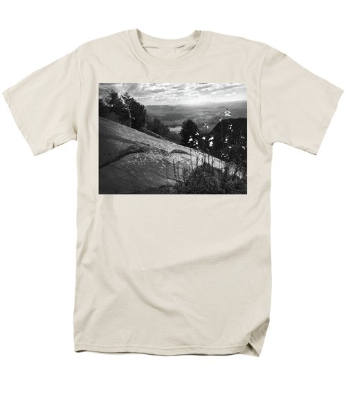 Flowers At Table Rock Overlook In Black And White Three Men's T-Shirt  (Regular Fit) by Kelly Hazel