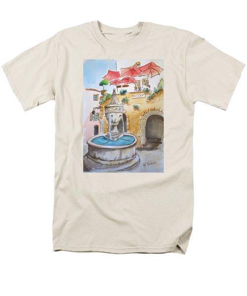 Men's T-Shirt  (Regular Fit) featuring the painting Fountain At St Paul De Vence by Marilyn Zalatan