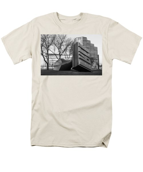 Free Stamp In Cleveland In Black And White  Men's T-Shirt  (Regular Fit) by John McGraw