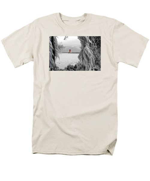 Men's T-Shirt  (Regular Fit) featuring the photograph Frozen In Time - Menominee North Pier Lighthouse by Mark J Seefeldt