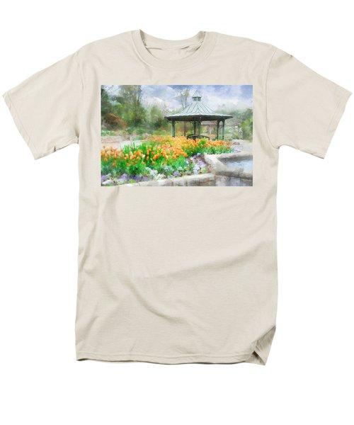 Men's T-Shirt  (Regular Fit) featuring the digital art Gazebo With Tulips by Francesa Miller