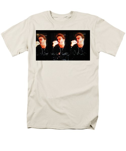 Men's T-Shirt  (Regular Fit) featuring the photograph George Michael The Passionate Performer by Toni Hopper