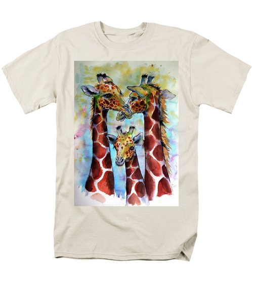 Men's T-Shirt  (Regular Fit) featuring the painting Giraffe Family by Kovacs Anna Brigitta