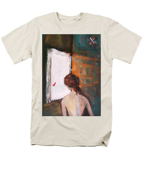 Men's T-Shirt  (Regular Fit) featuring the painting Girl At The Window by Winsome Gunning