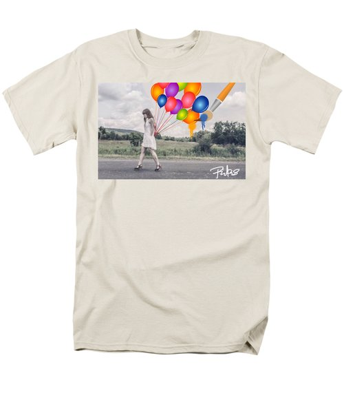 Girl Walking With Ballons #1 Men's T-Shirt  (Regular Fit) by Diana Riukas