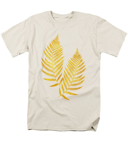 Men's T-Shirt  (Regular Fit) featuring the mixed media Gold Fern Leaf Art by Christina Rollo