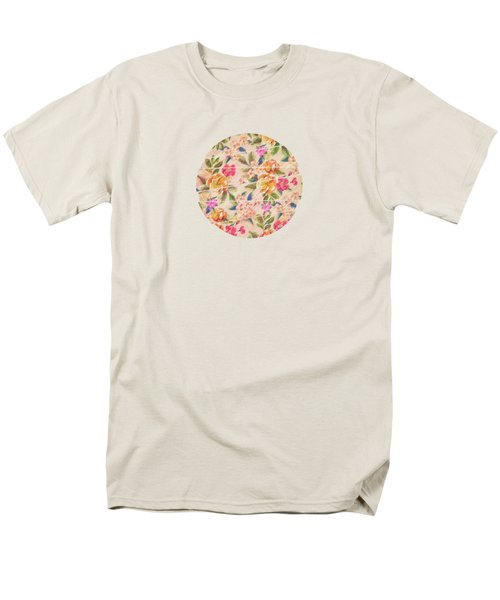 Golden Flitch Digital Vintage Retro  Glitched Pastel Flowers  Floral Design Pattern Men's T-Shirt  (Regular Fit) by Philipp Rietz
