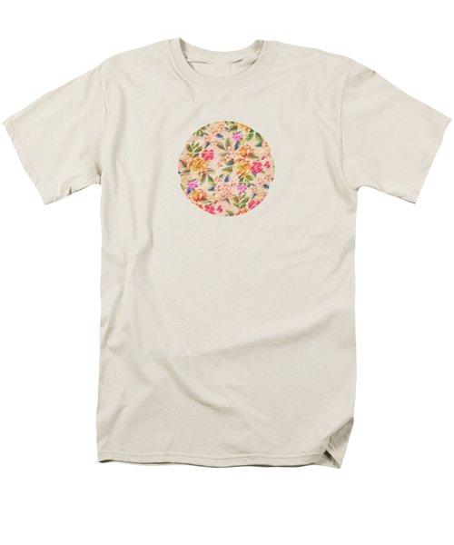 Golden Flitch Digital Vintage Retro  Glitched Pastel Flowers  Floral Design Pattern Men's T-Shirt  (Regular Fit) by Philipp Rietz