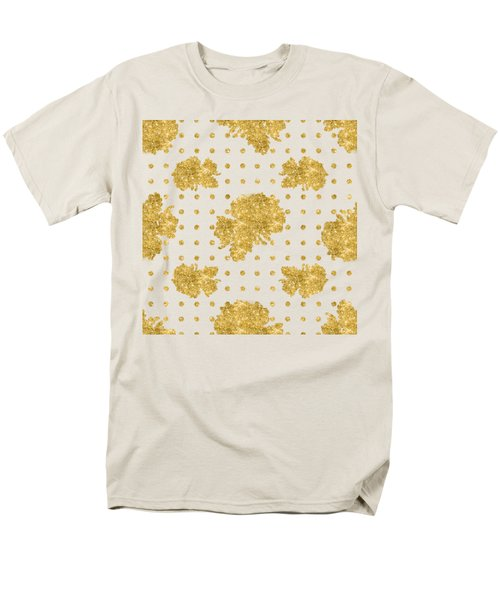 Men's T-Shirt  (Regular Fit) featuring the painting Golden Gold Blush Pink Floral Rose Cluster W Dot Bedding Home Decor by Audrey Jeanne Roberts