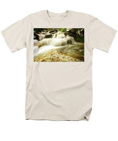 Golden Waterfall Men's T-Shirt  (Regular Fit) by Carol Crisafi