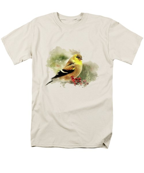 Goldfinch Watercolor Art Men's T-Shirt  (Regular Fit) by Christina Rollo