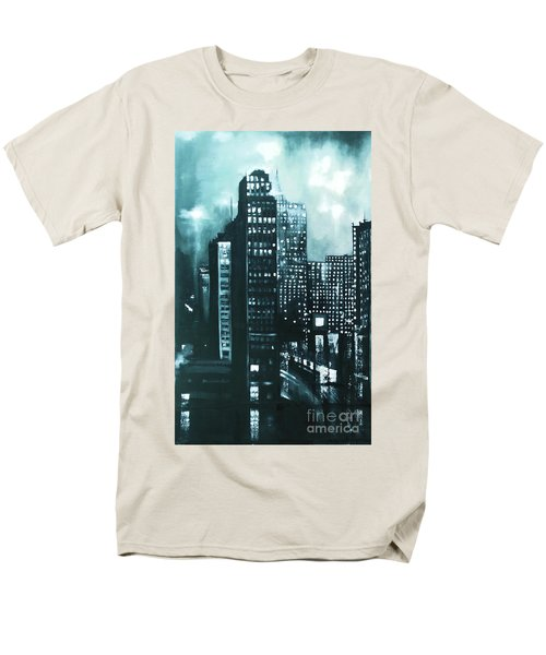 Men's T-Shirt  (Regular Fit) featuring the painting Gotham Painting by Maja Sokolowska