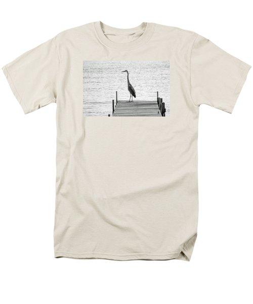 Great Blue Heron On Dock - Keuka Lake - Bw Men's T-Shirt  (Regular Fit) by Photographic Arts And Design Studio