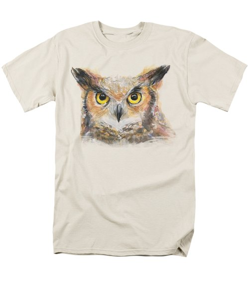 Great Horned Owl Watercolor Men's T-Shirt  (Regular Fit) by Olga Shvartsur