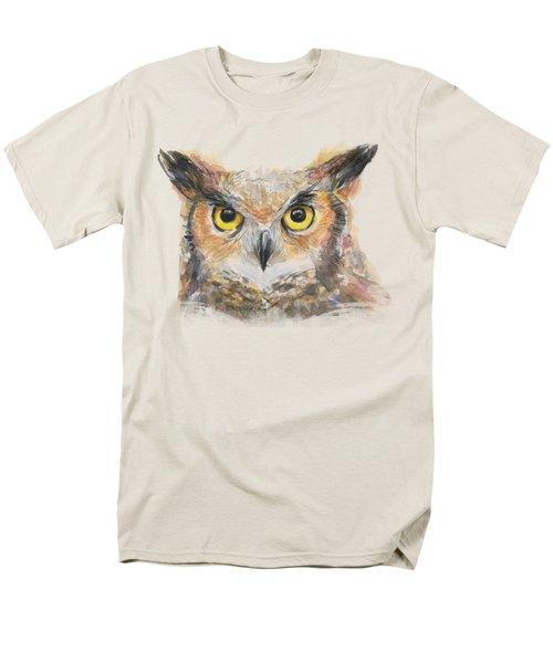 Great Horned Owl Watercolor Men's T-Shirt  (Regular Fit)