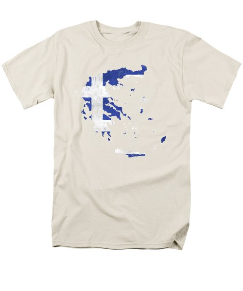 Greece Map Art With Flag Design Men's T-Shirt  (Regular Fit) by World Art Prints And Designs