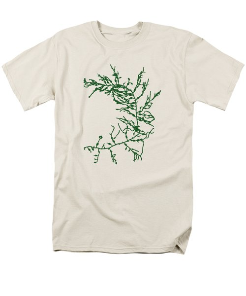 Men's T-Shirt  (Regular Fit) featuring the mixed media Green Seaweed Art Cystoseira Fibrosa by Christina Rollo