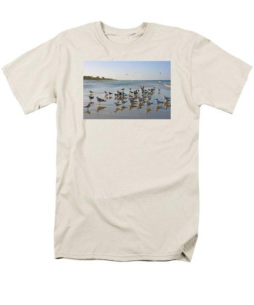 Gulls And Terns On The Sanbar At Lowdermilk Park Beach Men's T-Shirt  (Regular Fit) by Robb Stan