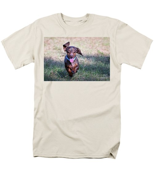Happy Dachshund Men's T-Shirt  (Regular Fit) by Stephanie Hayes