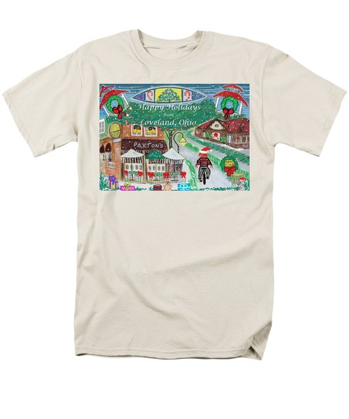 Men's T-Shirt  (Regular Fit) featuring the painting Happy Holidays From Loveland, Ohio by Diane Pape