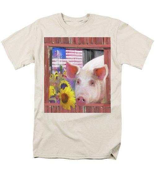 Happy Pig  Men's T-Shirt  (Regular Fit) by Julianne Ososke