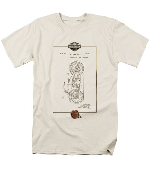 Men's T-Shirt  (Regular Fit) featuring the digital art Harley-davidson 1924 Vintage Patent Document With 3d Badge by Serge Averbukh