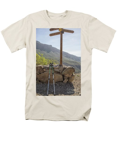 Hiking Poles Resting Near Sign Men's T-Shirt  (Regular Fit) by Patricia Hofmeester