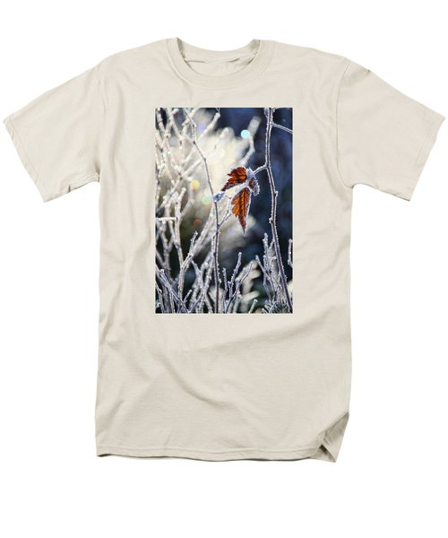 Men's T-Shirt  (Regular Fit) featuring the photograph Hoar Frost And Leaves In Winter by Peggy Collins