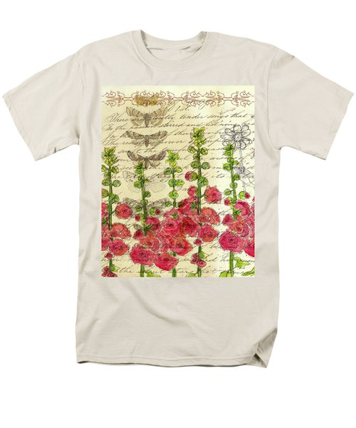 Men's T-Shirt  (Regular Fit) featuring the drawing Hollyhocks And Butterflies  by Cathie Richardson