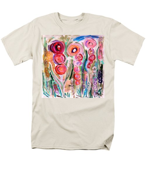 Men's T-Shirt  (Regular Fit) featuring the painting Hollyhocks Of The Garden by Mary Carol Williams