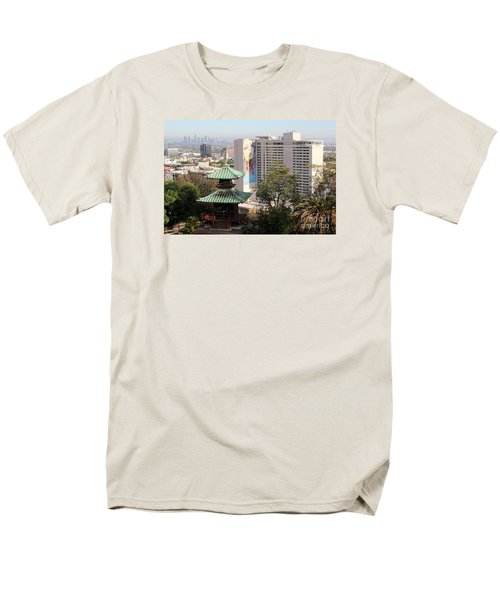 Men's T-Shirt  (Regular Fit) featuring the photograph Hollywood View From Japanese Gardens by Cheryl Del Toro