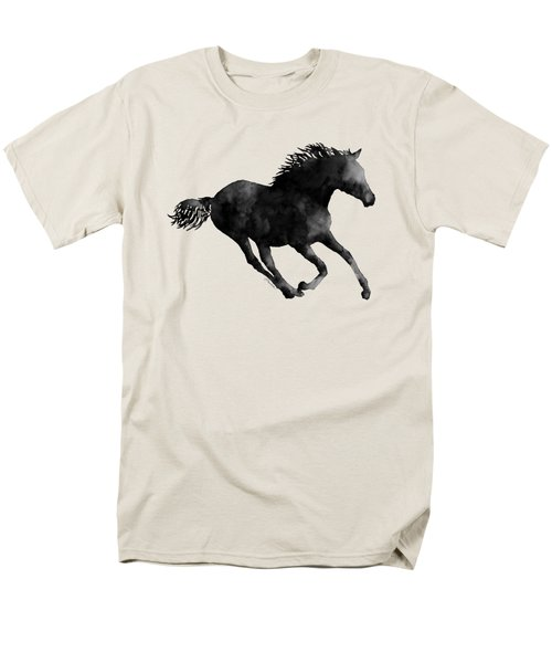 Men's T-Shirt  (Regular Fit) featuring the painting Horse Running In Black And White by Hailey E Herrera