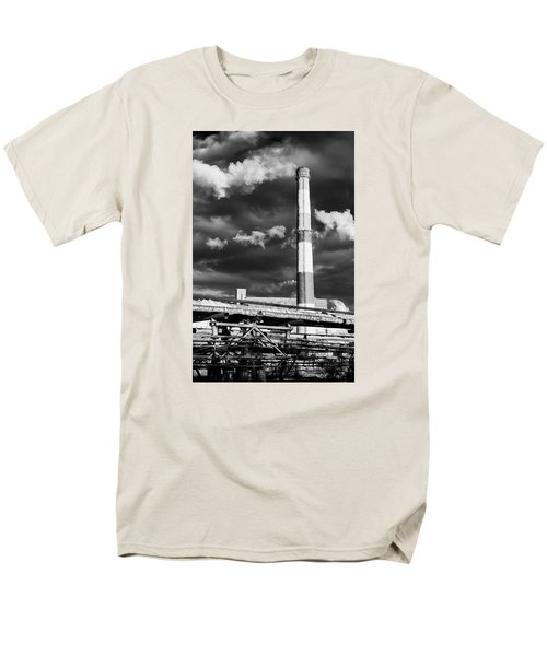 Huge Industrial Chimney And Smoke In Black And White Men's T-Shirt  (Regular Fit) by John Williams