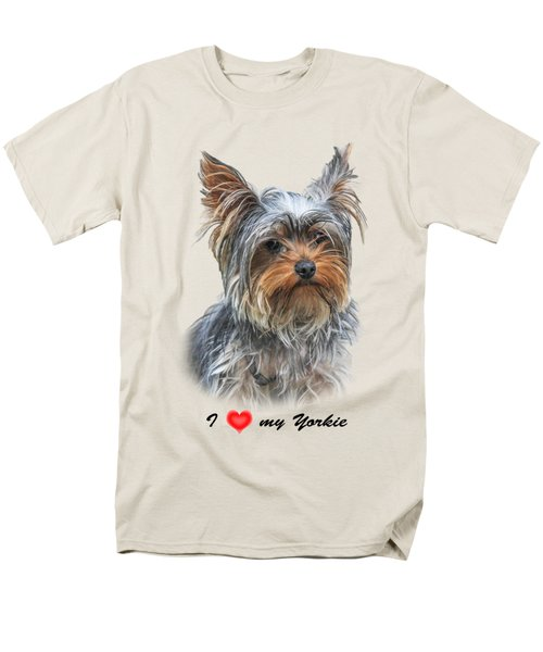 Men's T-Shirt  (Regular Fit) featuring the photograph I Love My Yorkie 01 by Jivko Nakev