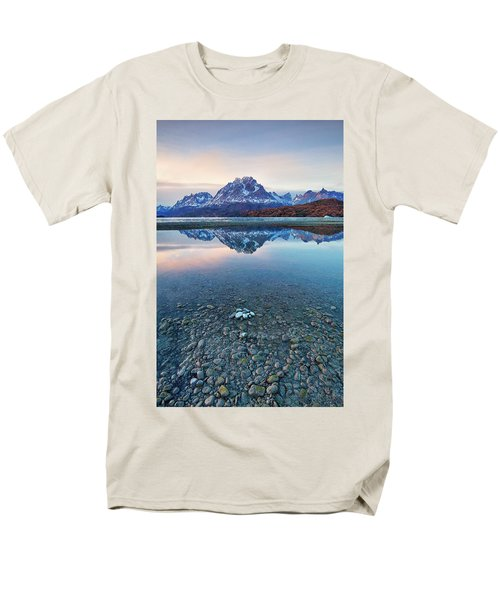Icebergs And Mountains Of Torres Del Paine National Park Men's T-Shirt  (Regular Fit) by Phyllis Peterson