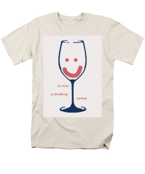 Men's T-Shirt  (Regular Fit) featuring the drawing In Vino So Fucking Veritas by Frank Tschakert
