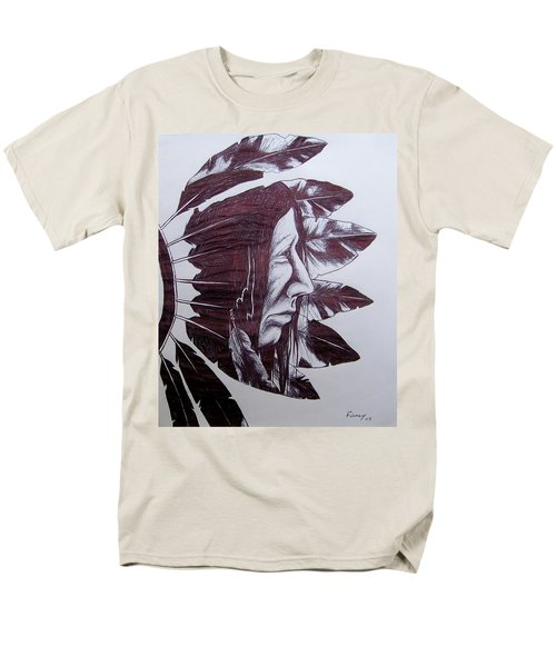 Men's T-Shirt  (Regular Fit) featuring the drawing Indian Feathers by Michael  TMAD Finney