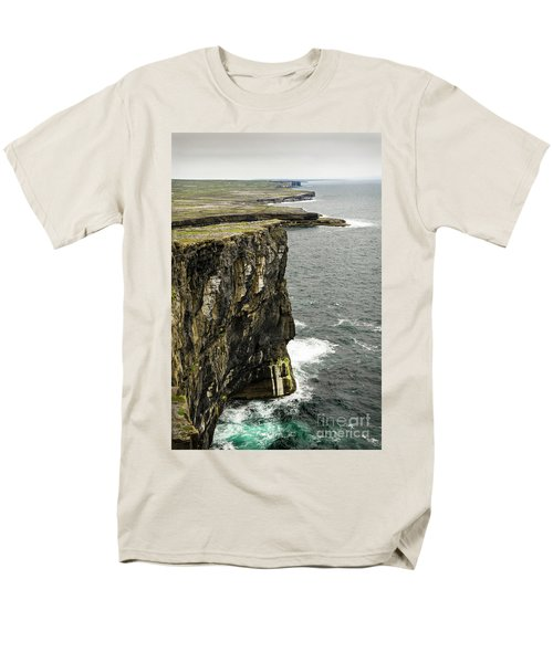 Men's T-Shirt  (Regular Fit) featuring the photograph Inishmore Cliffs And Karst Landscape From Dun Aengus by RicardMN Photography
