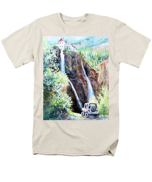 Jeeping At Bridal Falls  Men's T-Shirt  (Regular Fit) by Linda Shackelford