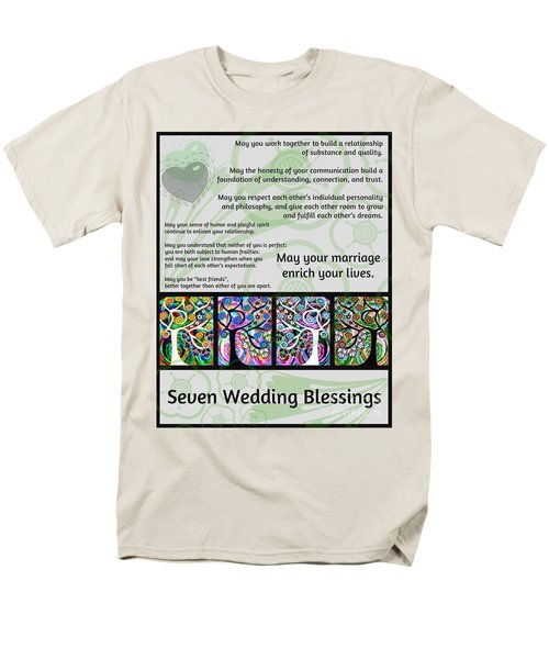 Jewish Seven Wedding Blessings Tree Of Life Hamsas Men's T-Shirt  (Regular Fit) by Sandra Silberzweig