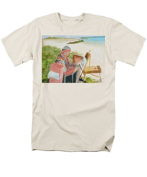Men's T-Shirt  (Regular Fit) featuring the painting Julia Painting At Boynton Inlet Beach  by Donna Walsh