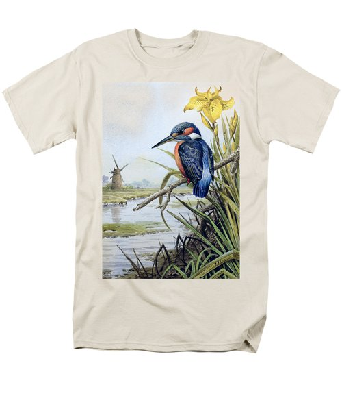 Kingfisher With Flag Iris And Windmill Men's T-Shirt  (Regular Fit) by Carl Donner