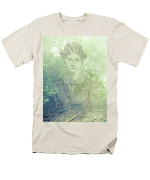 Men's T-Shirt  (Regular Fit) featuring the mixed media Lady On The Tracks by Angela Hobbs